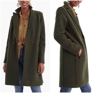 J. Crew | Green Daphne Italian Boiled Wool Topcoat